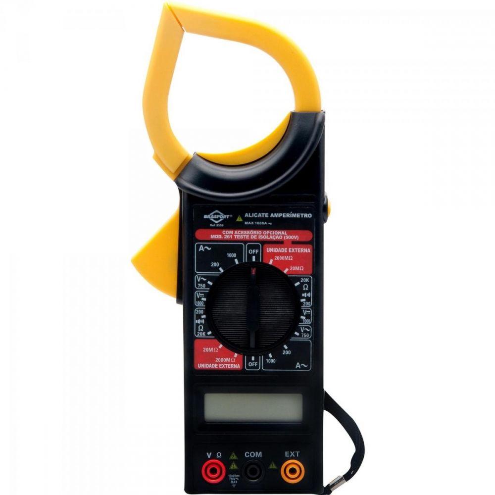 Alicate Amperímetro Digital Preto/Amarelo com Estojo 8559 BRASFORT