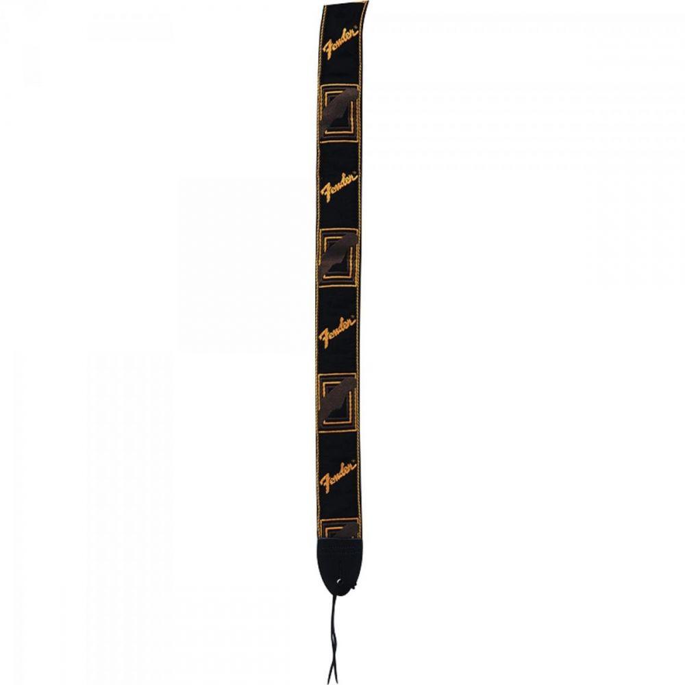 Correia para Instrumentos em Nylon Preta com Logo Marrom MONOGRAMA FENDER