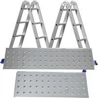 Escada Multifuncional Articulada 4x4 16 Degraus com Plataforma em Alumínio/Aço MOR
