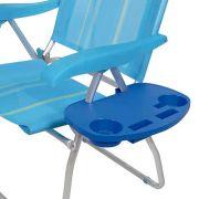 Mesa Portátil para Cadeira de Praia com Porta-Copos/Porta-Objetos Azul MOR
