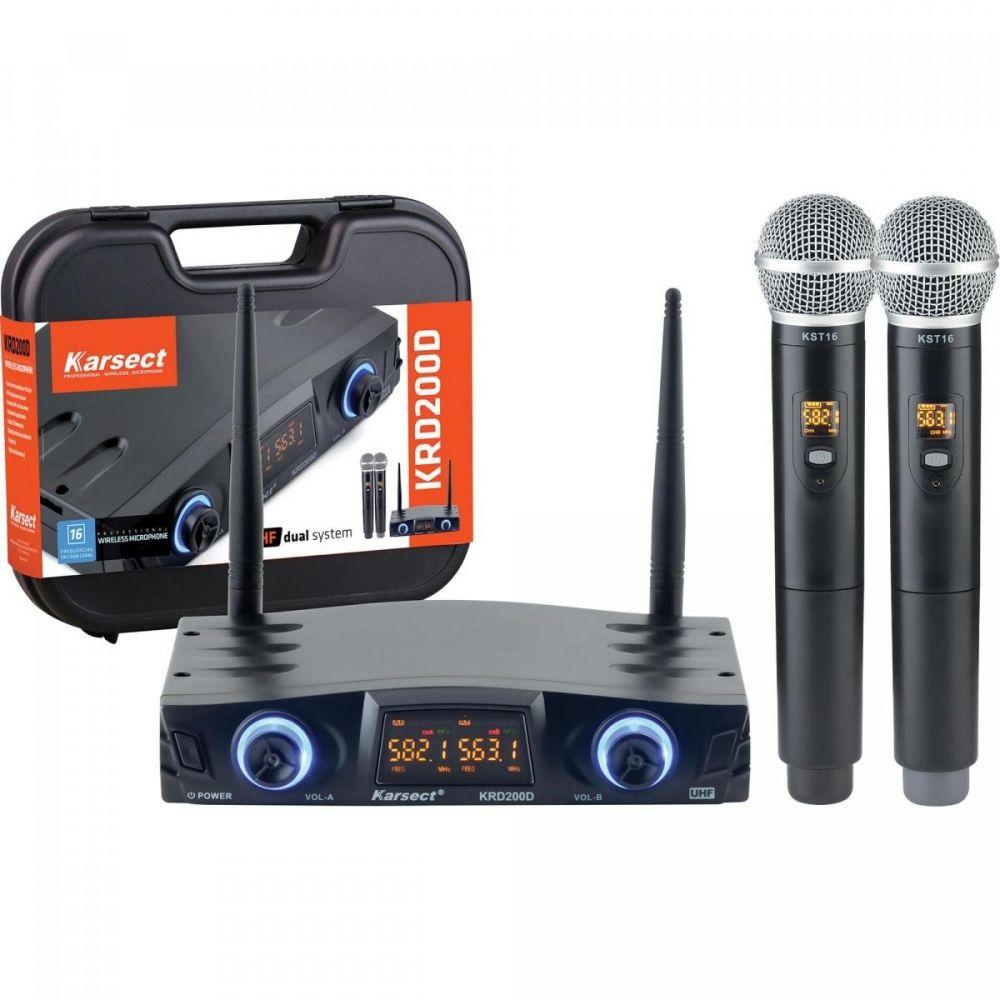Microfone de Mão Duplo Sem Fio UHF Preto KRD200DM KARSECT